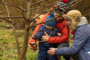 A woman, man and a baby pouring cider round the trees